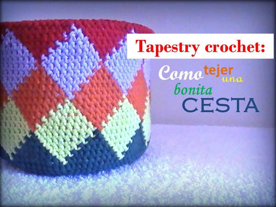 TAPESTRY crochet: como tejer una bonita CESTA (diestro) - YouTube