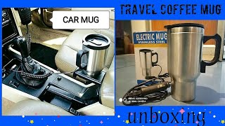 Car Heating Cup AUTO 12V 400ML Coffee Maker Tea Pot Kettle Vehicle Thermos Steel for Universal Cars.