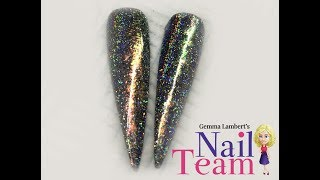 i love this effect!!! a stunning galaxy holo rainbow nails with a p...