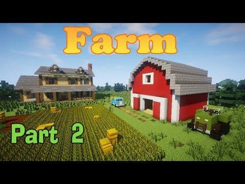 Minecraft How To Build A Farm Part 2 Barn Car Tractor