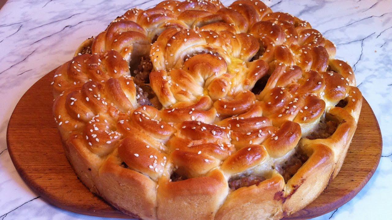 Мясной пирог Хризантема рецепт  с фото пошаговый  Едим
