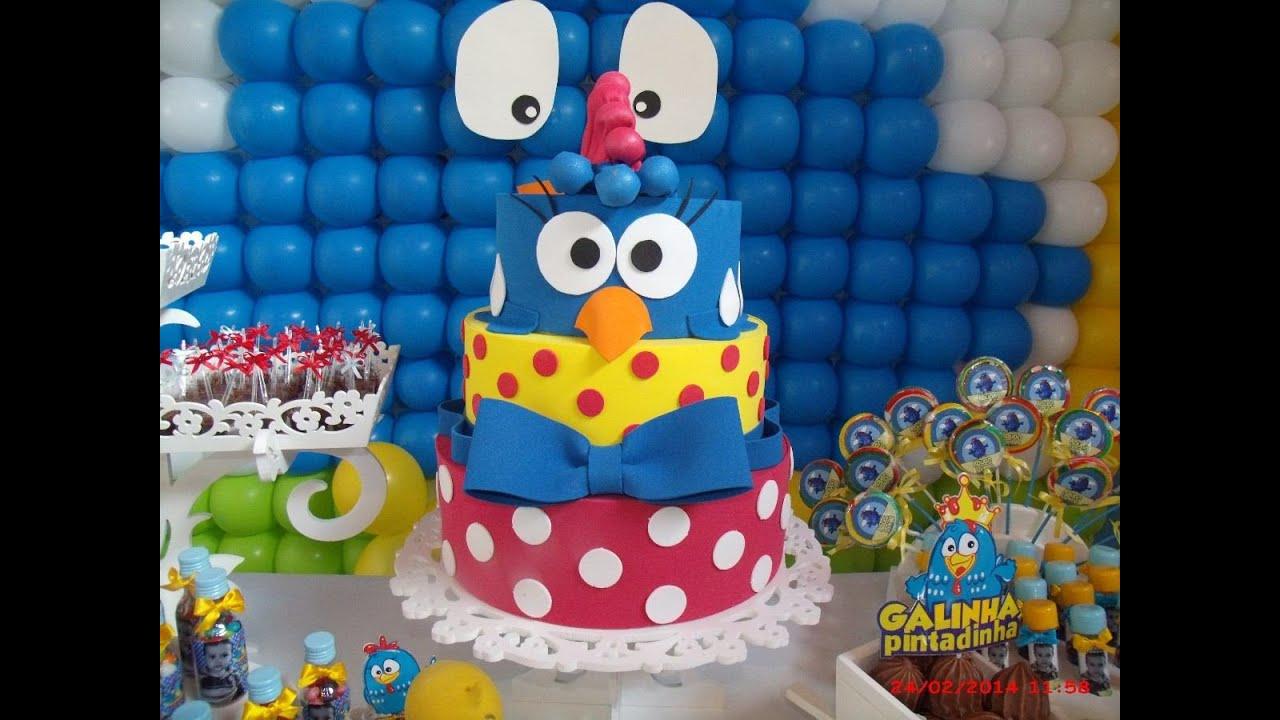 Ideias Decoraç u00e3o e Lembrancinhas Festa Aniversário Galinha Pintadinha YouTube -> Decoração Festa Infantil Galinha Pintadinha Simples