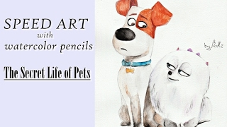 The Secret Life of Pets (Max & Gidget) - Speed Art with watercolor pencils