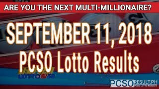 PCSO Lotto Results Today September 11, 2018 (6/58, 6/49, 6/42, 6D, Swertres, STL & EZ2)
