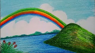 How to draw beautiful scenery with Rainbow.Step by step (easy draw)