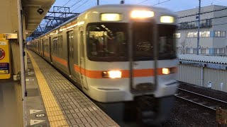 米原駅 JR西日本接近メロディで入線してくる313系