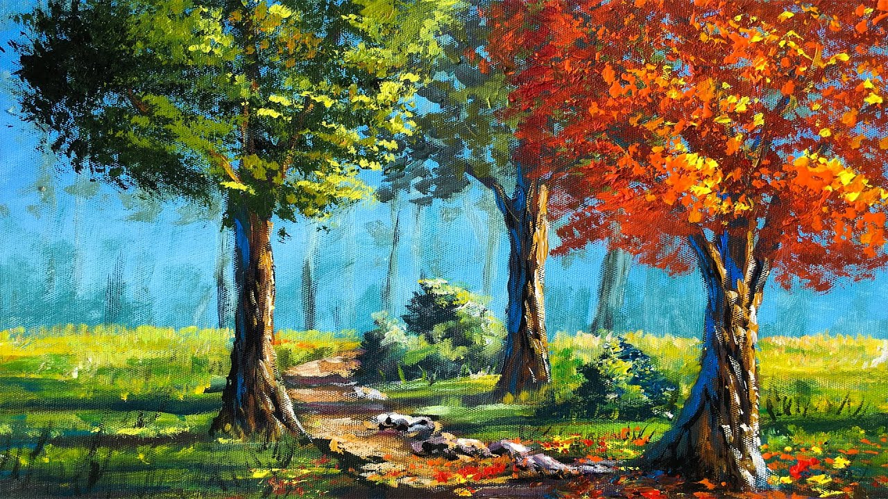 Pathway to the Forest | Acrylic Landscape Painting in Time-lapse | Autumn Tree | Art Candy Nepal