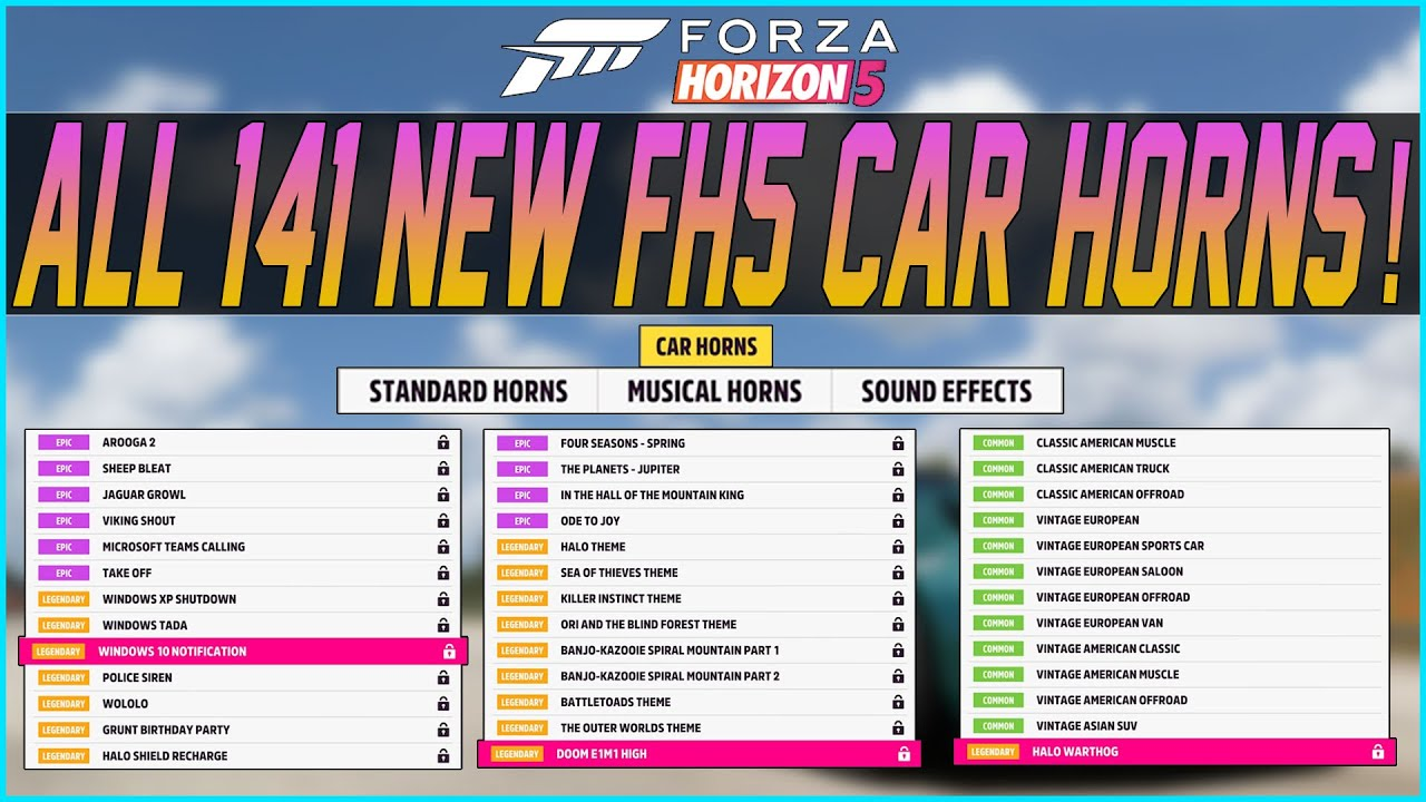 Download Forza Horizon 5 - All 140+ Car Horns In The Game!