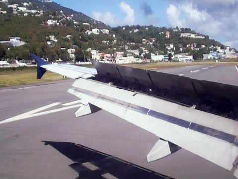 Landing in St. Thomas! | US Airways A319 Sunny Approach and Landing *HD Wingview!*