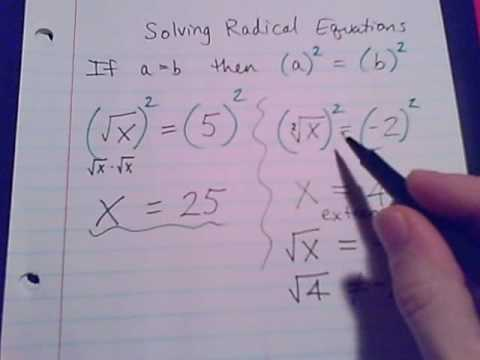 Radical Equations Part 1 Youtube