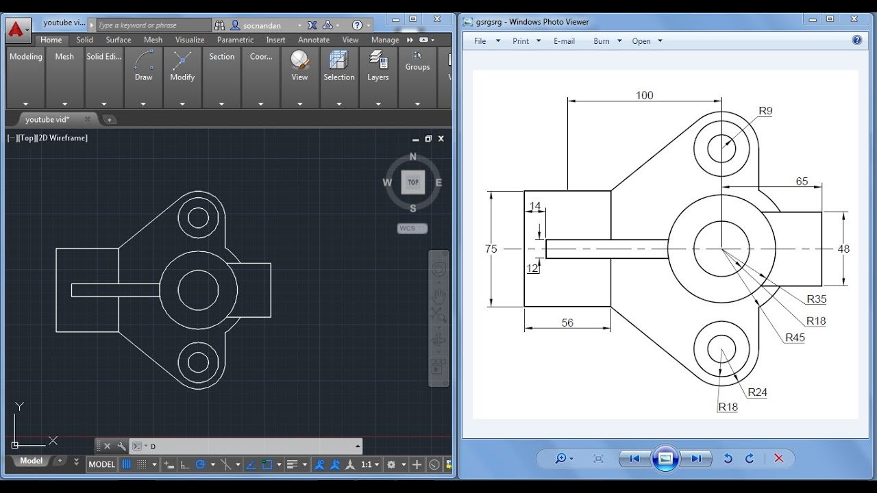 2d autocad practice drawing youtube for Online autocad drawing