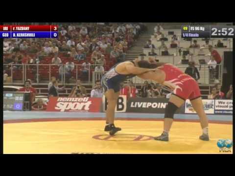 Reza Yazdani (IRI) vs Dato Kerashvili (GEO) 96kg 1/4 Final - 2013 World Wrestling Championships