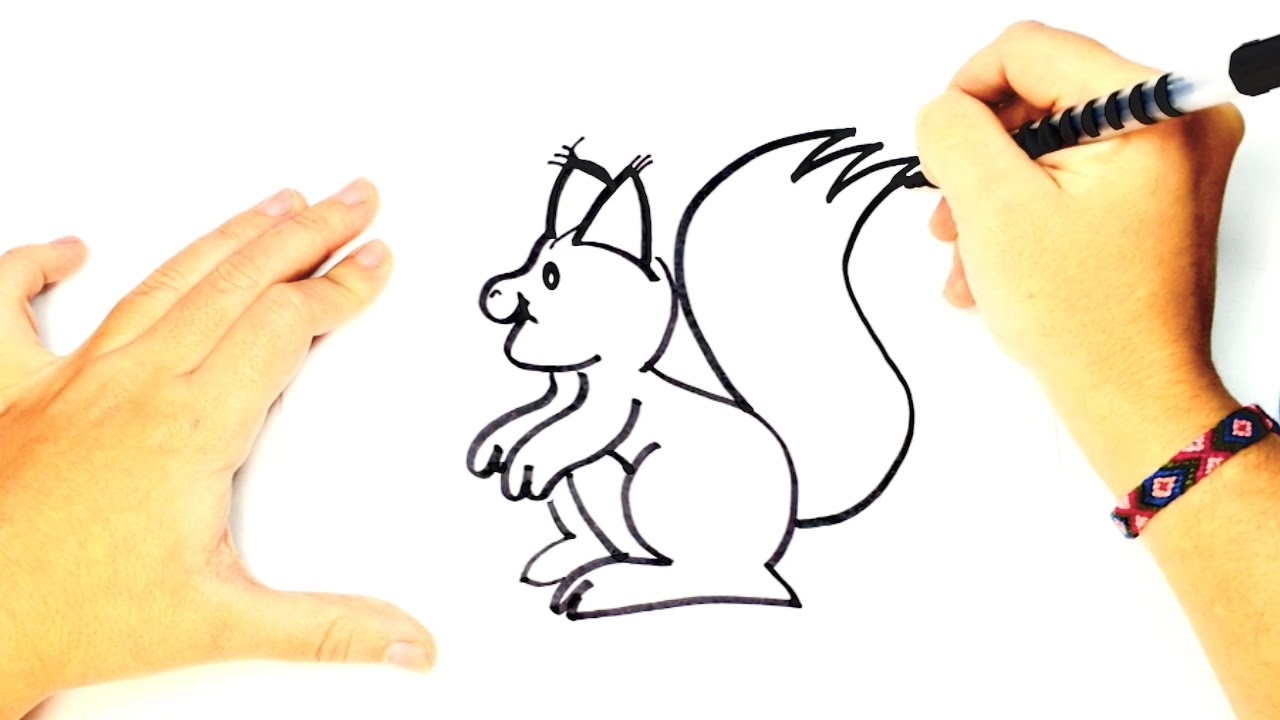 Cómo Dibujar Una Ardilla Para Niños Dibujo Fácil De Una Ardilla