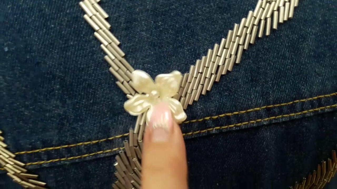 Декор джинсовой куртки бисером.   Вышивка на одежде