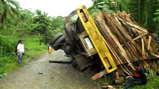 Overloaded logging truck dumps a load and flips