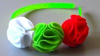 Tiara com Flores em forma de bola Passo a Passo
