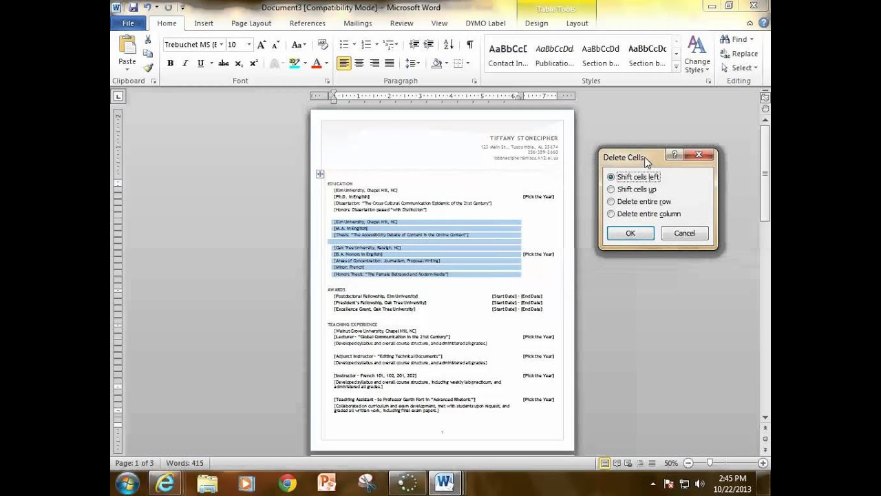 How To Create A Resume Using Word 2010 Template   YouTube