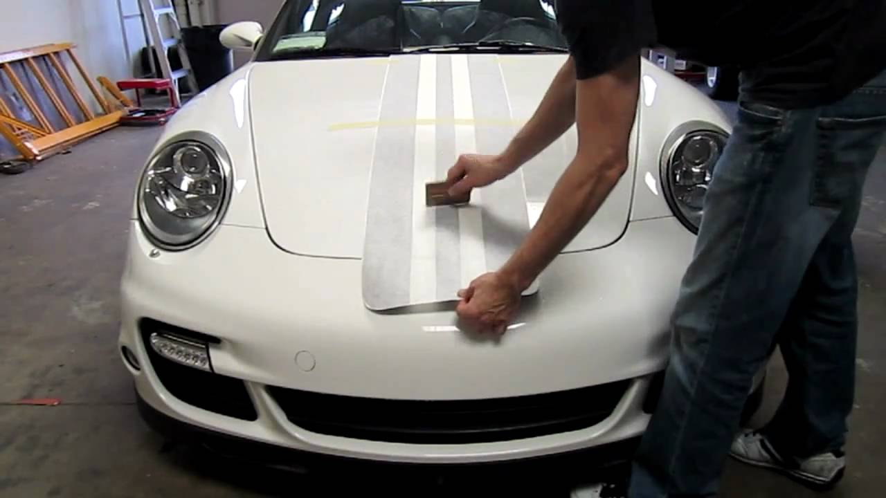Porsche 997 Turbo Matte Black Racing Stripe Install Youtube