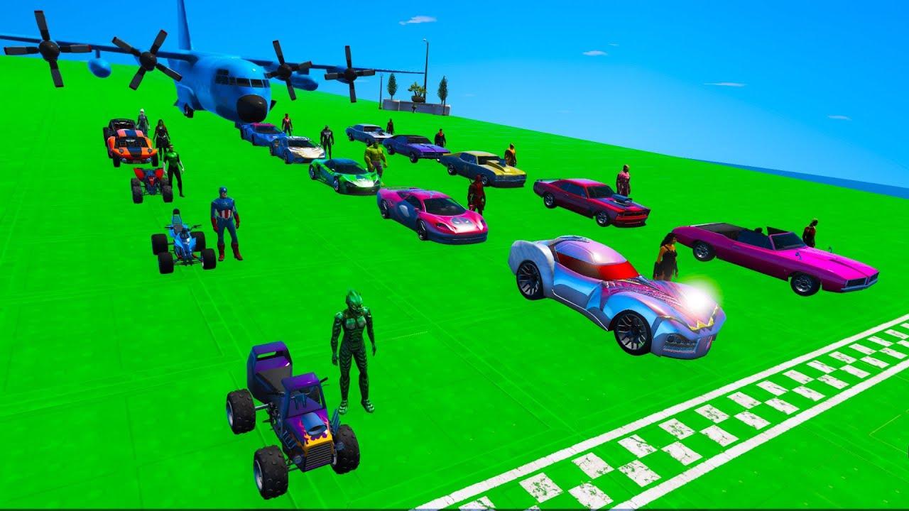 Download Plane SL Superheroes challenge Hot Wheels heroes cars SpiderMan Hulk and Guardians Galaxy GTA 5