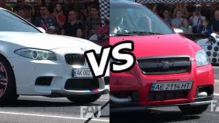 Chevrolet Aveo Turbo vs BMW M5 F10