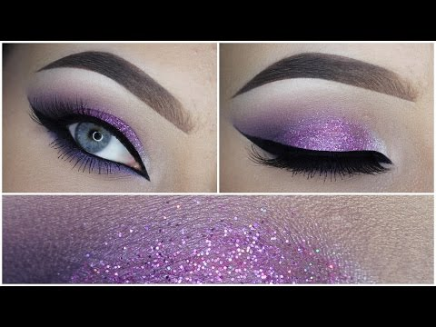 Easy purple eyeshadow makeup tutorial + Glitter