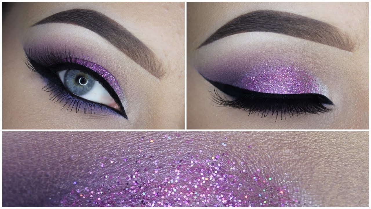 Easy purple eyeshadow makeup tutorial glitter youtube baditri Image collections