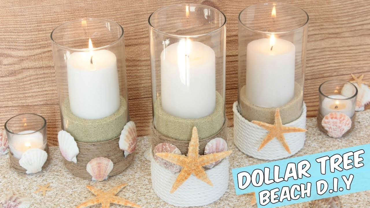 DOLLAR TREE BEACH CANDLE HOLDERS CENTERPIECE TUTORIAL ...