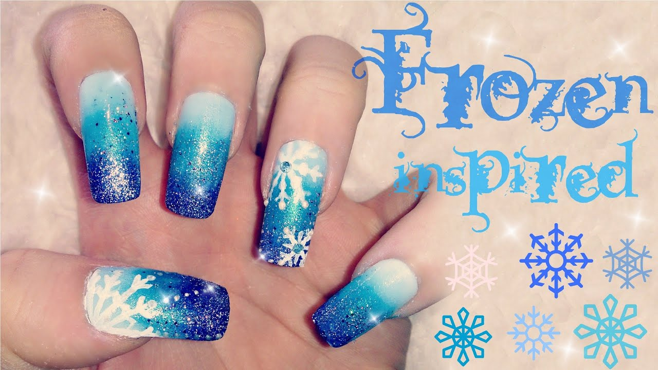 Disneys frozen inspired nail art tutorial youtube prinsesfo Images