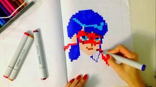 Как нарисовать Леди Баг по клеточкам (haw to draw Lady Bug, pixel)