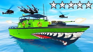 SURVIVING 5 Stars WANTED With *NEW* ARMY BOAT in GTA 5! (DLC)