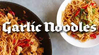 Thai Style Vegan Garlic Noodles with Tofu (Gluten Free + Oil Free Option)
