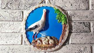 Панно аист с аистятами своими руками из соленого теста.Как сделать аиста.Идея для декора.Stork.DIY.