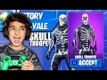 I told my 5 YEAR OLD little brother if he gets a victory in FORTNITE i will buy him a SKULL TROOPER!