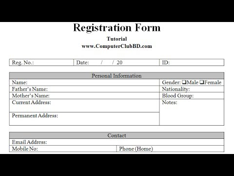 Create A Registration Form In Ms Word   Youtube