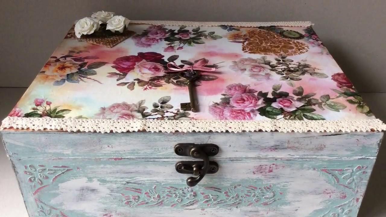 C mo decorar una caja vintage con decoupage y chalk paint for Decoupage con servilletas en muebles