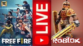 LIVE - FREE FIRE MITANDO COM A GALERA E MINIGAMES NO ROBLOX (LIVE 57)