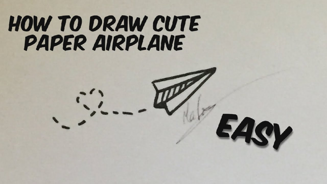 How To Draw Cute Paper Airplane Youtube