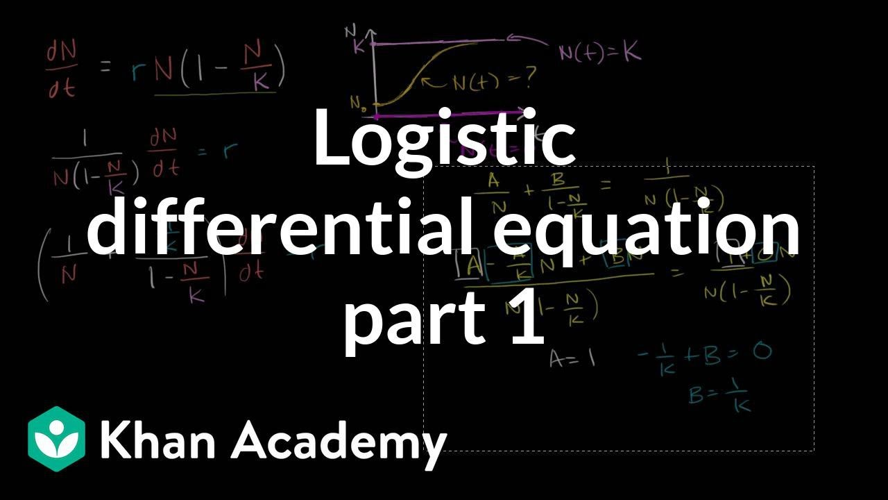 solving the logistic differential equation part 1 | khan academy