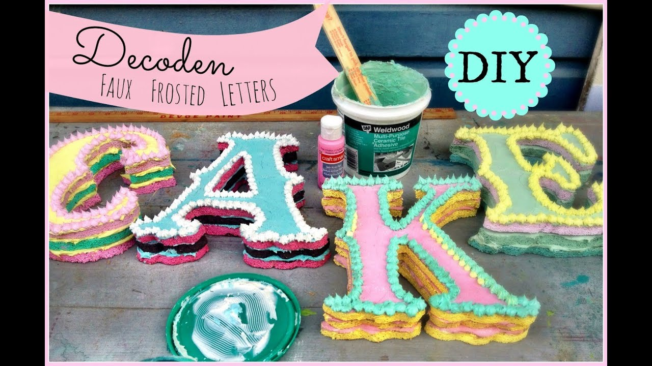 DIY Decoden Faux Frosted Cake Letters! - YouTube