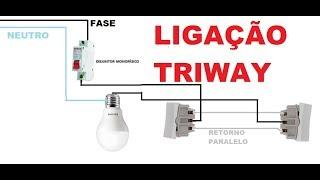 Como ligar uma lampada com dois interruptores LIGAÇÃO THREE WAY  OU PARALELO