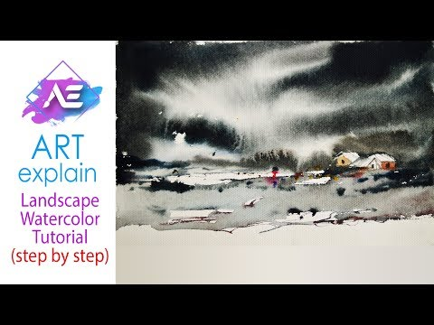 Black cloud Watercolor Painting | How to paint a watercolor landscape | Art Explain