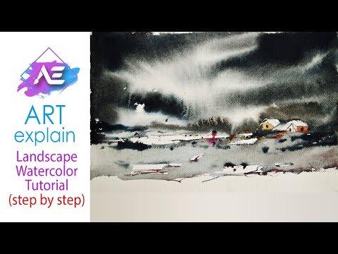 Black cloud Watercolor Painting | How to paint a watercolor landscape | Art Explain