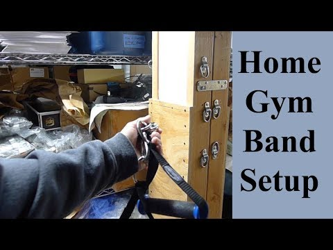 Home Gym Exercise Band Setup Using Storage Shelves D-Ring Carabiner