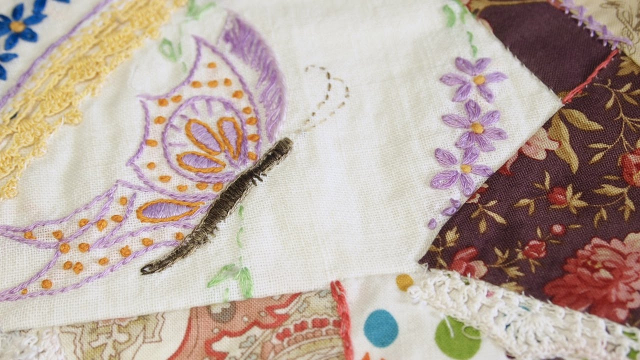 How to Add Vintage Embroidery Pieces to a Crazy Quilt Square  YouTube