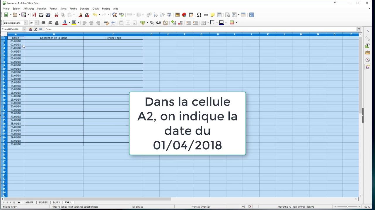 Calendrier Libre Office.Tuto Libreoffice Calc Tableur Le Calendrier