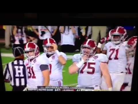 ORIGINAL AJ McCarron GETS PUSHED by Barrett Jones in the 2013 BCS championship