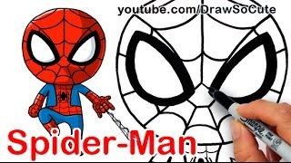 How to Draw SpiderMan Cute step by step