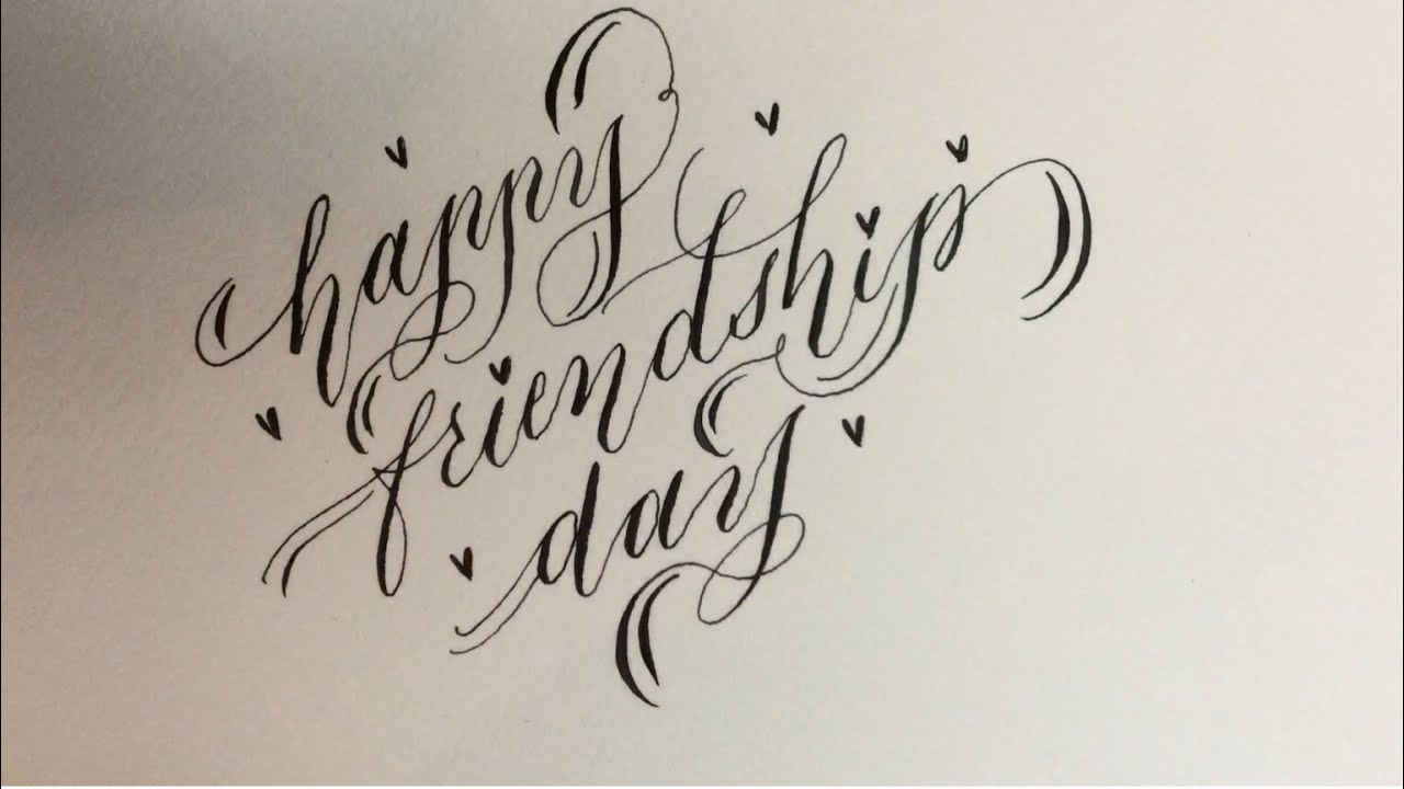 How to write happy friendship day in simple calligraphy