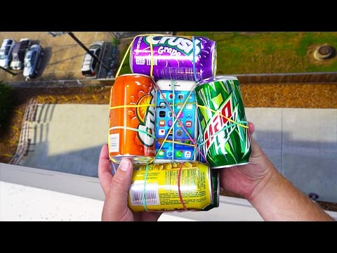Can Soda Cans Protect iPhone 6S from 100FT Drop Test onto Concrete? - Gizmoslip
