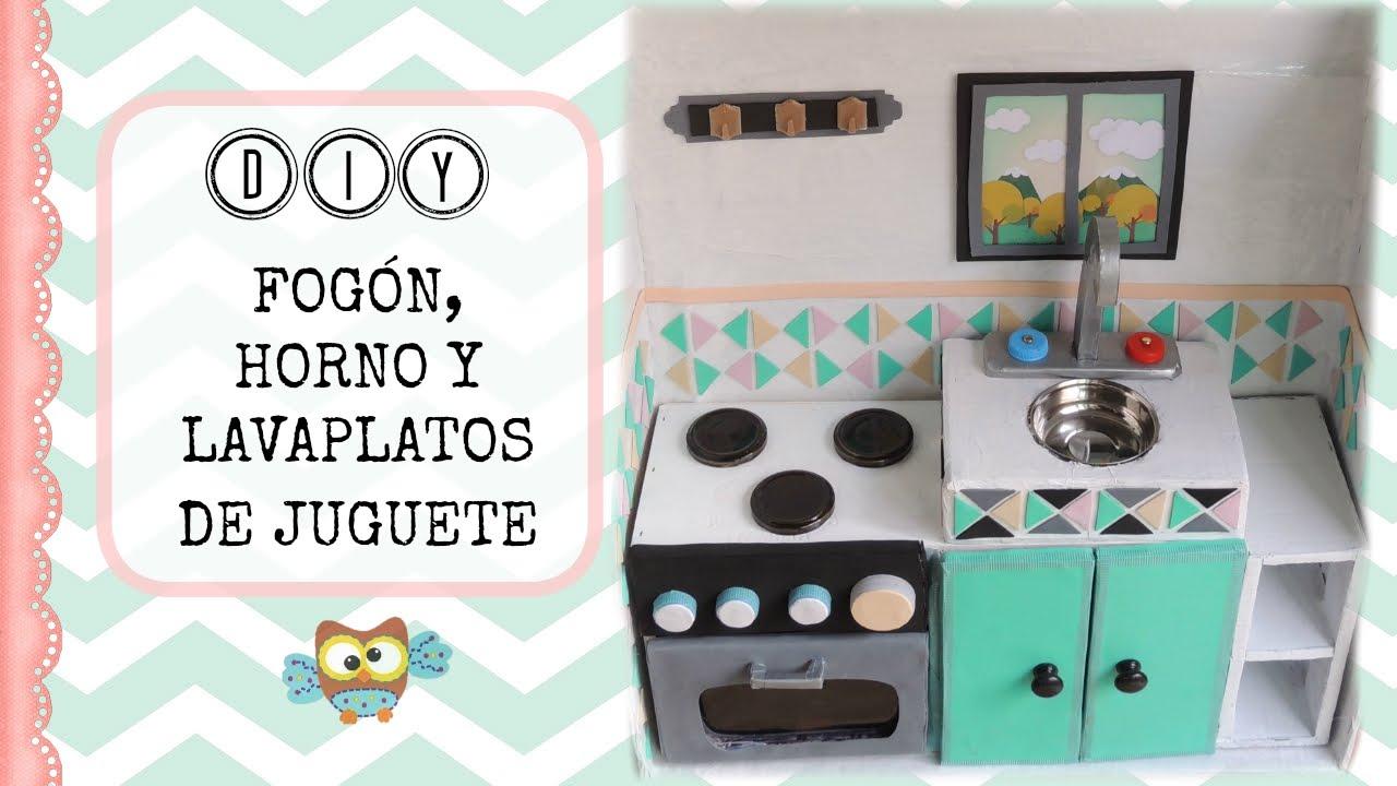 COCINA DE JUGUETE CON CARTÓN para niños - horno y lavaplatos - YouTube